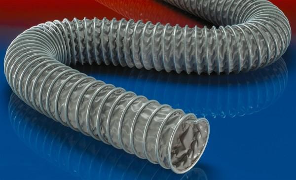 PVC-Klemmprofilschlauch (bis +120°C), gewebeverstärkt, schwer entflammbar; Ø 120mm; L:6m; CP PVC 46